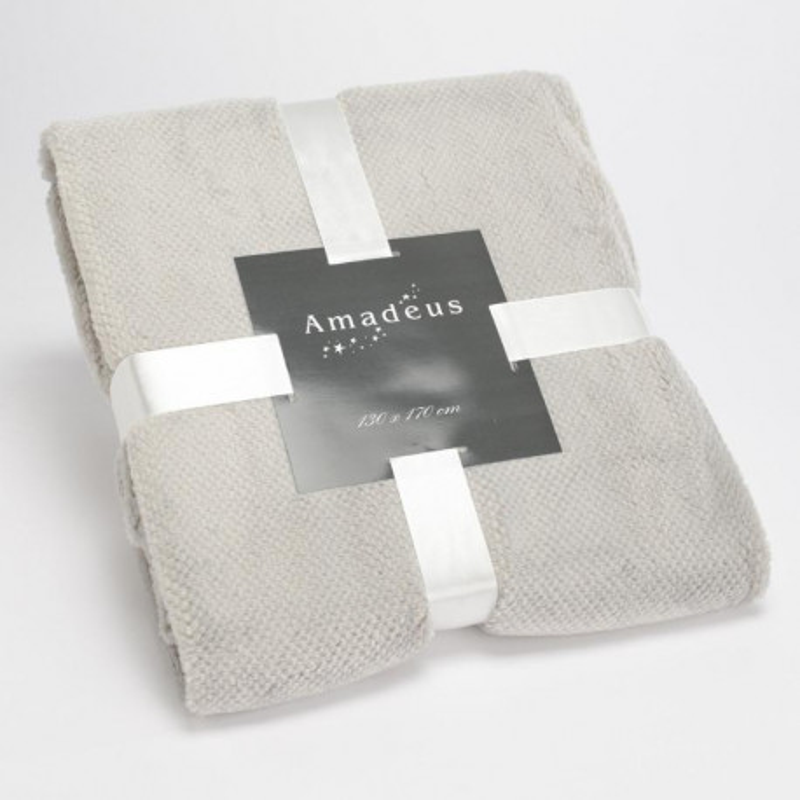 Plaid CALIN tout doux gris clair - 130x170cm - Amadeus