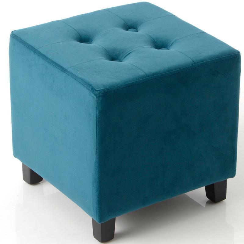 Tabouret carré VELOURS bleu canard - 35x35x35cm - AMADEUS