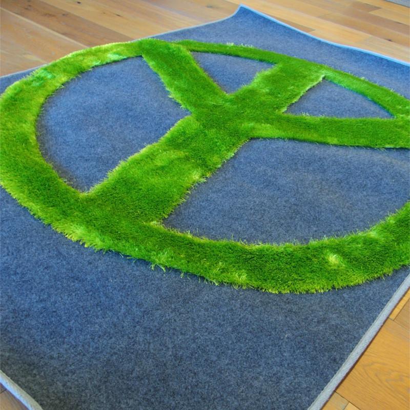 Tapis gris motif Peace vert fluo - CRASH - 120x170cm - PAPILIO