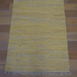Tapis corde naturel et ruban moutarde- VISTA- 120x170 - PAPILIO
