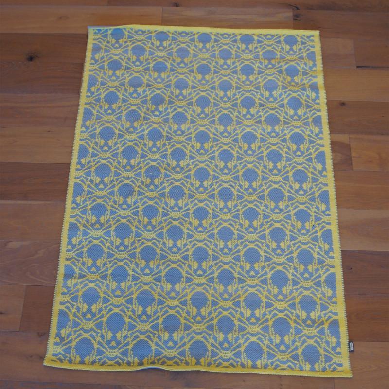 Tapis motif Tête de mort - gris et jaune - BONES- 120x170cm - PAPILIO