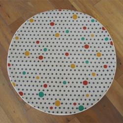 Tapis rond à pois - écru et pois colorés - Canvas - 120cm