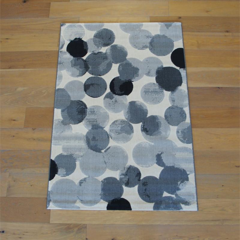 Tapis moderne Ronds gris sur fond écru - Canvas - 120x170cm