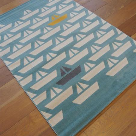 Tapis enfant Bateau écru sur fond bleu - Canvas - 120x170cm