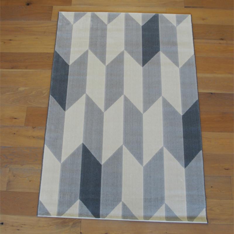 Tapis moderne à motif géométrique écru et gris - Canvas - 140x200cm