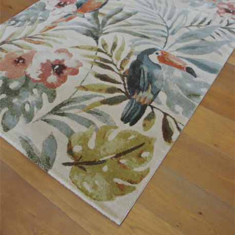 Tapis Exotic motif tropical, toucan et perroquet - 140x200 - OPTIMIST COSY- BALTA