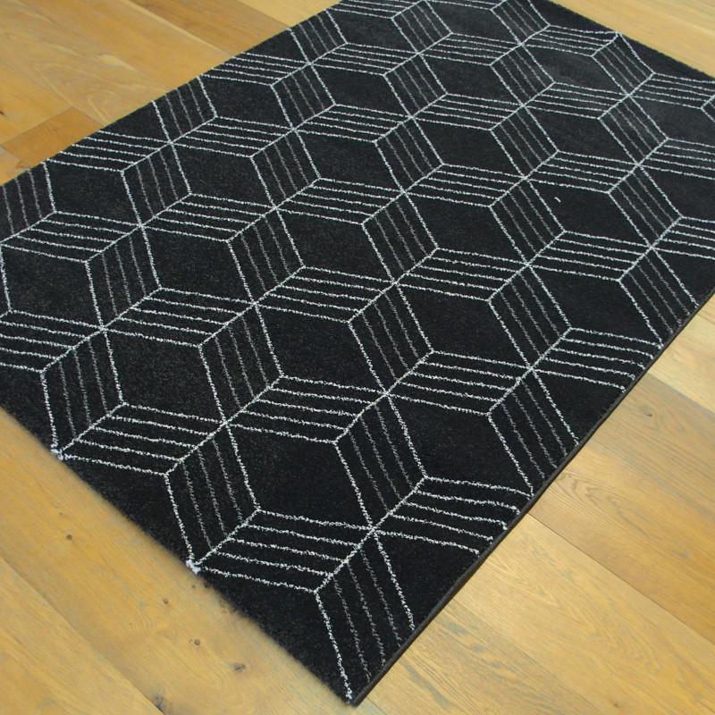 Tapis GEO noir, motif géométrique gris clair et gris foncé- 120x170cm - ELLE - BALTA