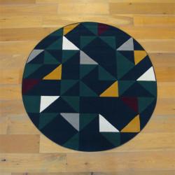Tapis rond triangles jaune et vert sur fond bleu marine - Diamètre 160cm - Canvas