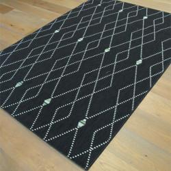 Tapis tissé Corde - Losange noir, vert, blanc - STAR - 140x200cm