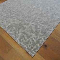 Tapis corde tissé à plat gris clair motif géométrique blanc - 140x200cm - ESSENZA