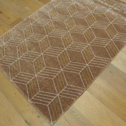 Tapis GEO cappuccino, motif géometrique écru et moutarde - 120x170cm - ELLE - BALTA