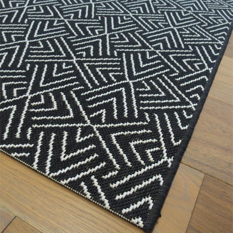 Tapis Corde Tisse A Plat Noir Et Blanc 140x200cm Essenza