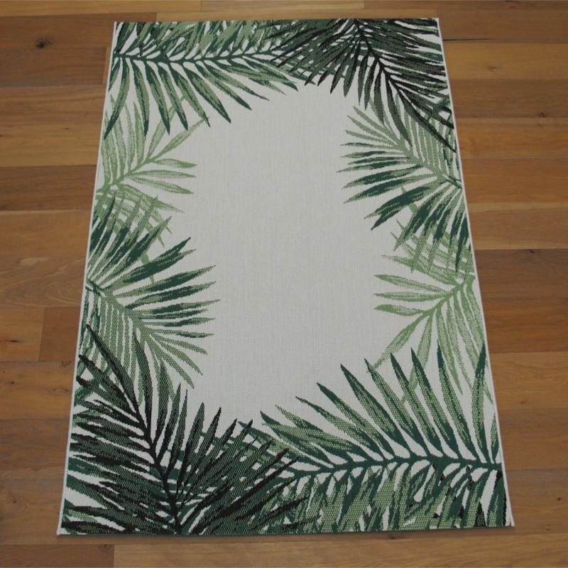 "Tapis corde ""Tropical contour feuillage vert écru"" - Star BALTA 140x200"