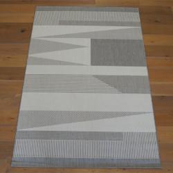 Tapis tissé motif géométrique gris clair et blanc cassé - 160x230cm - ESSENZA