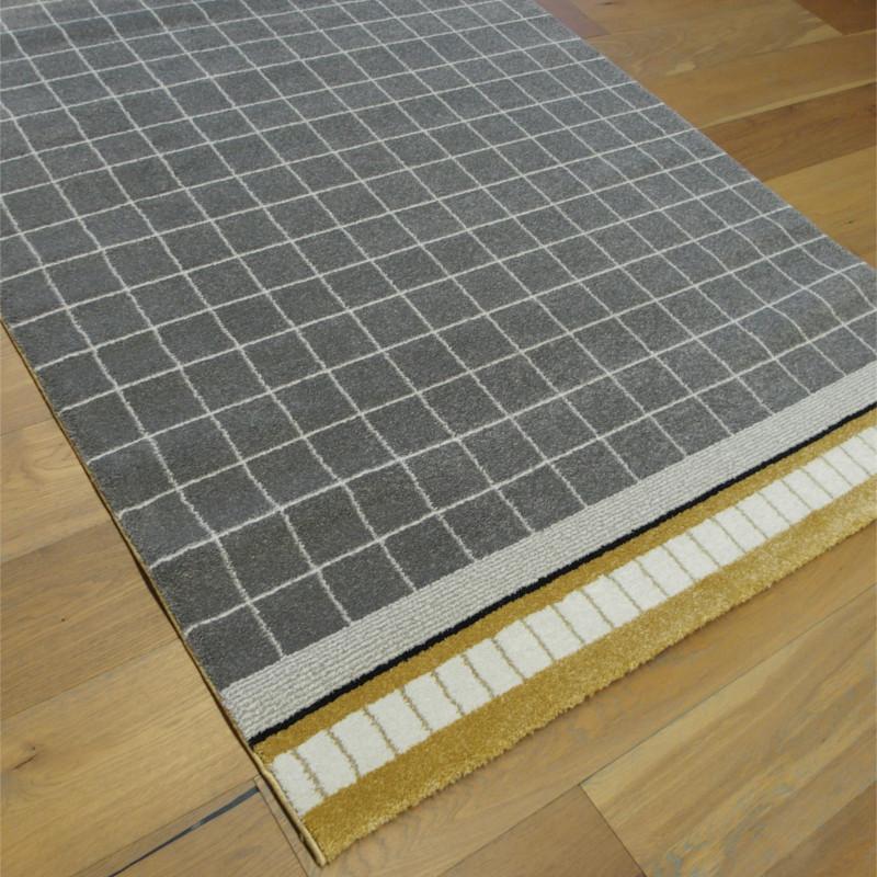 Tapis moderne quadrillé gris, écru et moutarde - 140x200cm - ELLE - BALTA