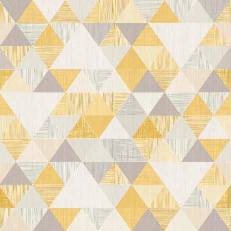 Papier peint Triangles jaune et gris - INSPIRATION WALL - Grandeco - IW3001