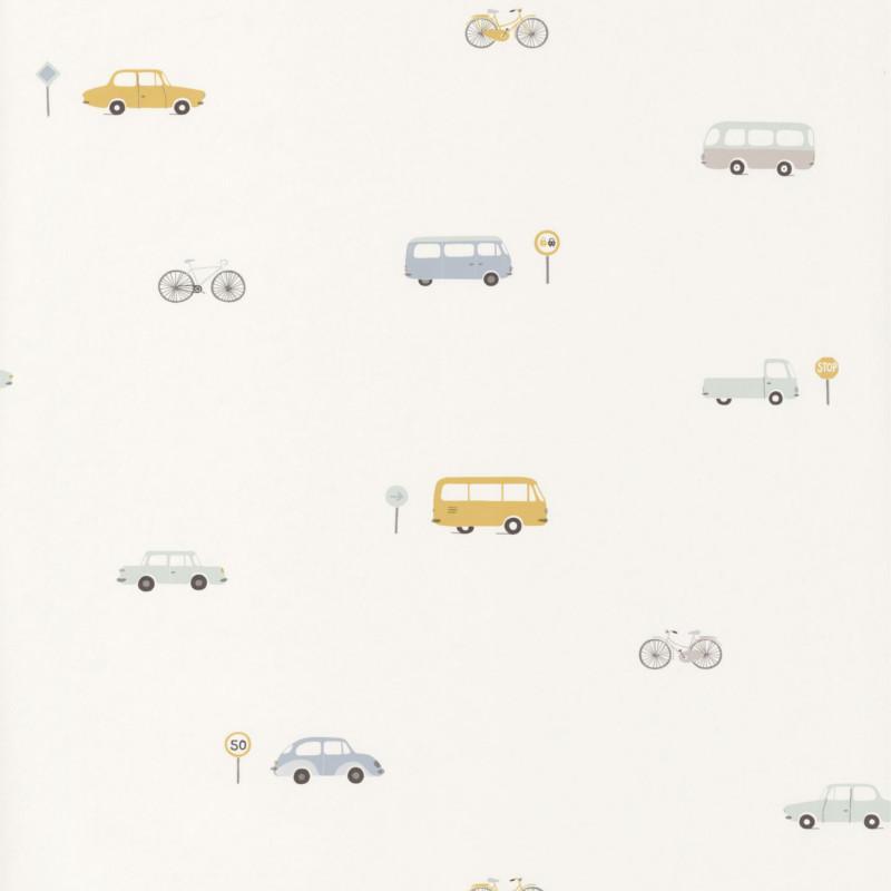Papier peint Voitures vintage bleu et jaune - HAPPY DREAMS - Casadeco - HPDM82776216