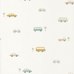 Papier peint intissé enfant Voitures vintage vert menthe - HAPPY DREAMS Casadeco