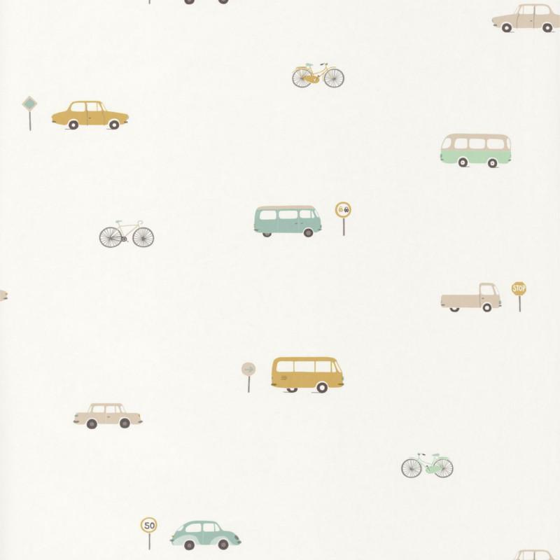 Papier peint Voitures vintage vert menthe - HAPPY DREAMS - Casadeco - HPDM82777317