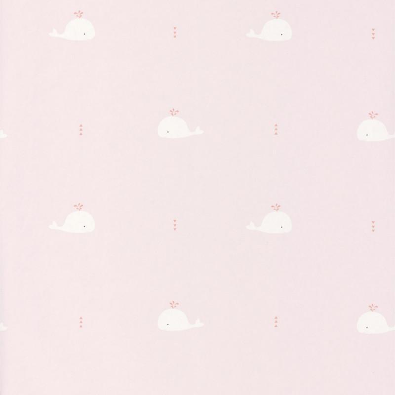 Papier peint Baleines rose corail - HAPPY DREAMS - Casadeco - HPDM82794220