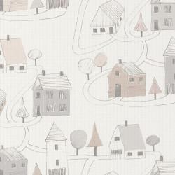 Papier peint intissé enfant Small Village gris/beige - HAPPY DREAMS Casadeco