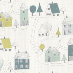 Papier peint intissé enfant Small Village vert/menthe - HAPPY DREAMS Casadeco