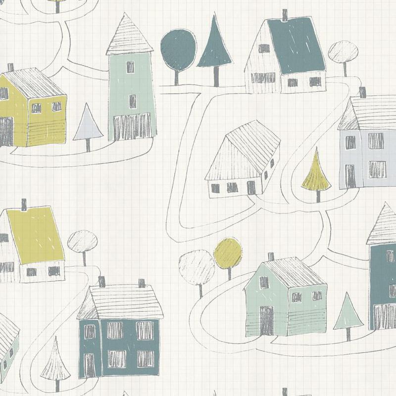 Papier peint Small Village vert menthe - HAPPY DREAMS - Casadeco - HPDM82847128