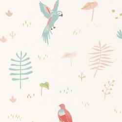 Papier peint intissé enfant Tropical corail - HAPPY DREAMS Casadeco