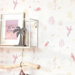 Papier peint intissé enfant Tropical parme - HAPPY DREAMS Casadeco