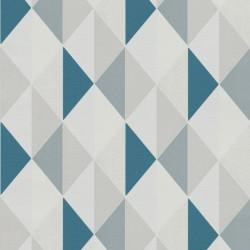 Papier peint à motif Triangles bleu et gris - Collection ORION - GRANDECO