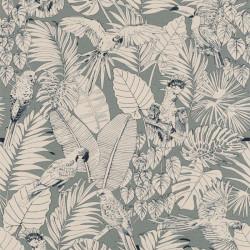 Papier peint Madagascar Tropical vert de gris - Rasch