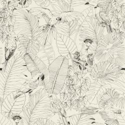 Papier peint Madagascar Tropical noir et blanc - Rasch