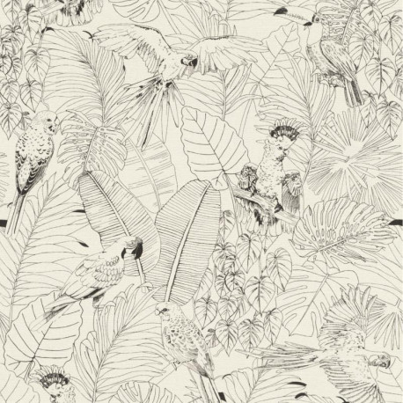 Merveilleux Papier Peint Madagascar Tropical Noir Et Blanc   Rasch
