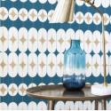 Papier peint intissé Diane motif art déco bleu gold - Most Fabulous Rasch