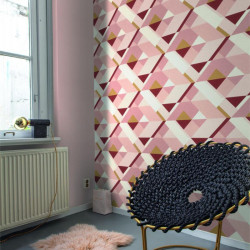 Papier peint intissé Graphic à motifs géométriques rose gold - Rasch