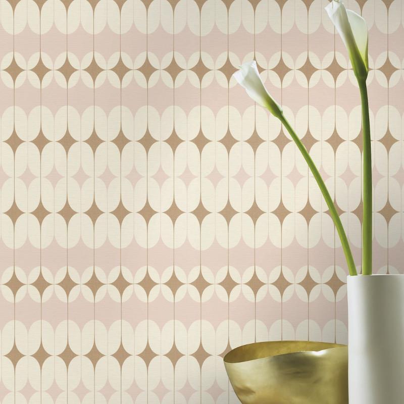 Papier peint intissé Diane motif art déco rose gold - Most Fabulous Rasch