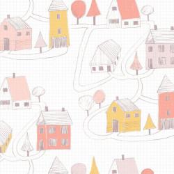 Papier peint intissé enfant Small Village rose/corail - HAPPY DREAMS Casadeco