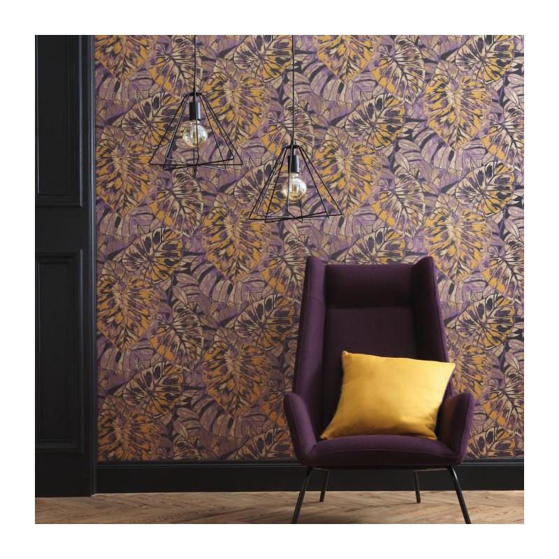 Papier peint Feuilles jaune curry et prune - PANAMA - Casadeco - PANA81072516