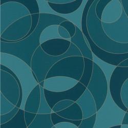Papier peint intissé Bulles motif cercles bleus et doré - Rasch
