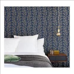 Papier peint GINKGO bleu nuit et doré - SCARLETT - Caselio