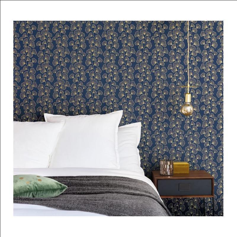 Papier peint Ginkgo bleu nuit et doré - SCARLETT - Caselio - SRL100486062