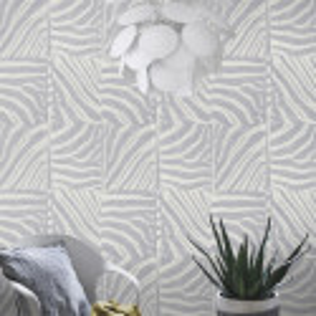 Papier peint intissé patchwork peau de zèbre gris et blanc - Rasch