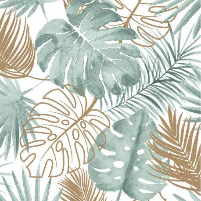 Papier peint Palmes Jungle - vert et cuivre - Ugepa