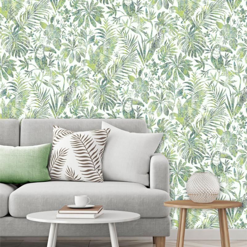 Papier peint Feuillage Tropical et Oiseaux vert - ESCAPADE - Ugepa - L68504