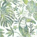 Papier peint Feuillage Tropical et Oiseaux - vert - Ugepa
