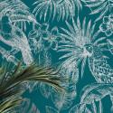 Papier peint Feuillage Tropical et Oiseaux - bleu et argent - ESCAPADE Ugepa