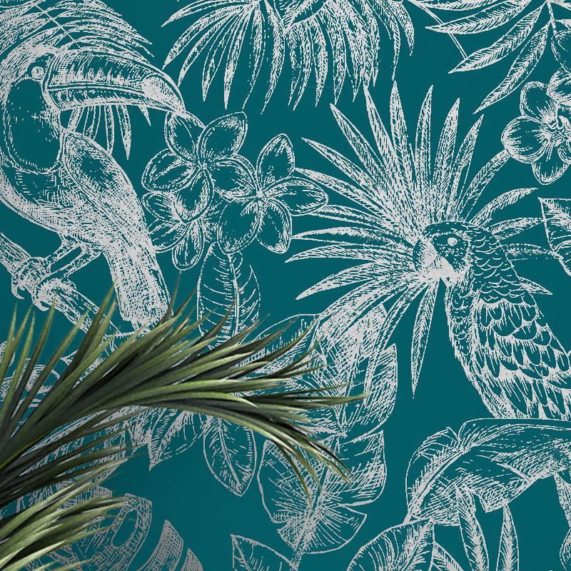 Papier peint Feuillage Tropical et Oiseaux bleu canard et argent - ESCAPADE - Ugepa - L70701