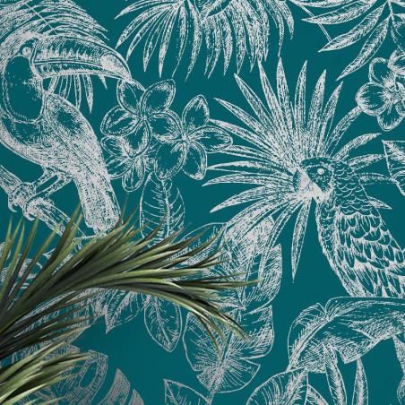 Papier peint Feuillage Tropical et Oiseaux - bleu et gris - Ugepa