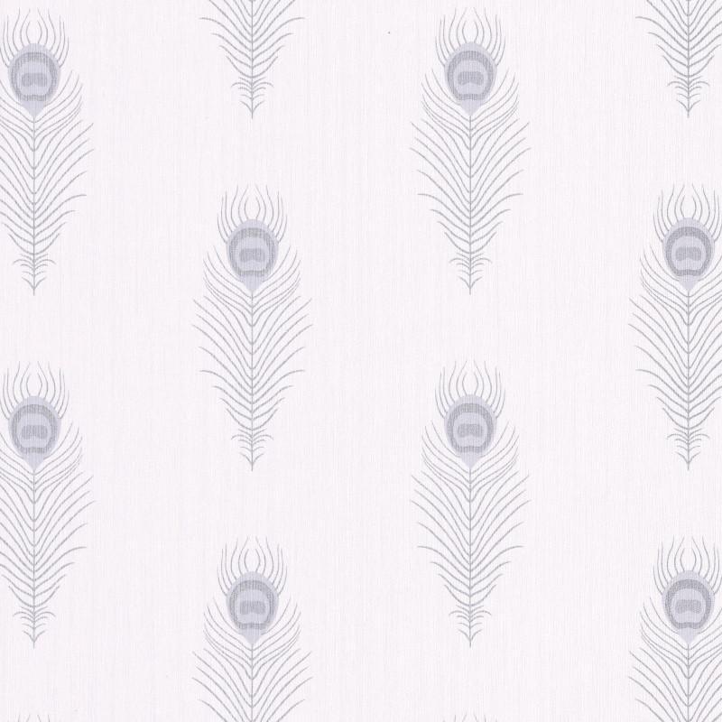 Papier peint Peacock blanc et argenté - SCARLETT - Caselio - SRL100460096