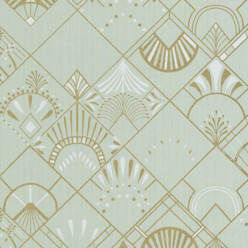 Papier peint Golden Years vert amande et or - SCARLETT - Caselio - SRL100457098